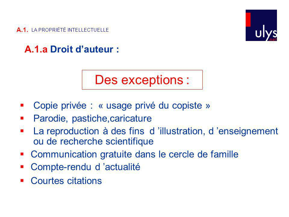 Des exceptions : A.1.a Droit d'auteur :