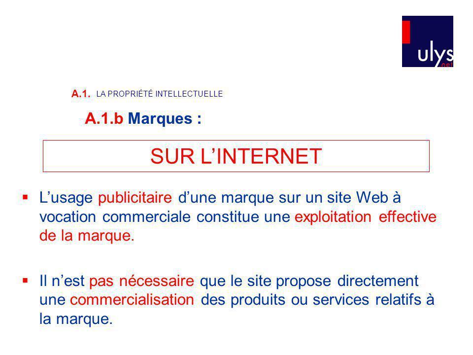 SUR L'INTERNET A.1.b Marques :