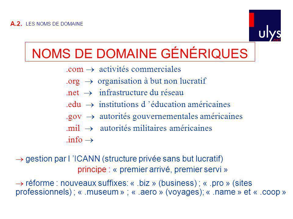 NOMS DE DOMAINE GÉNÉRIQUES