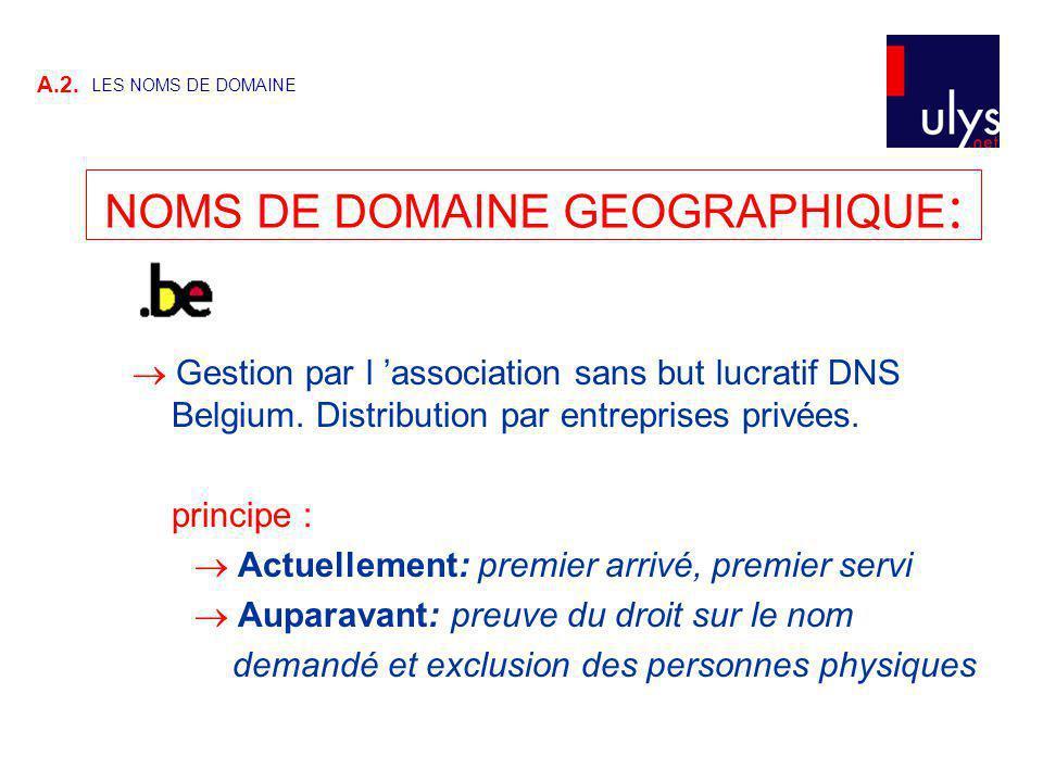 NOMS DE DOMAINE GEOGRAPHIQUE: