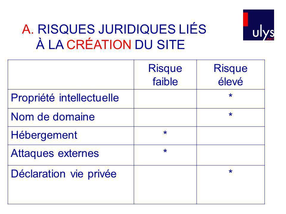 A. RISQUES JURIDIQUES LIÉS À LA CRÉATION DU SITE