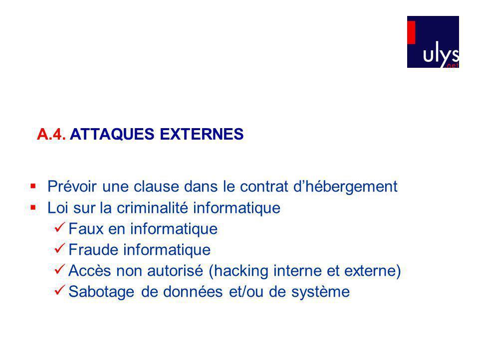 A.4. ATTAQUES EXTERNES Prévoir une clause dans le contrat d'hébergement. Loi sur la criminalité informatique.