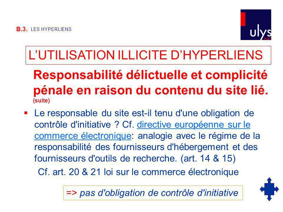 L'UTILISATION ILLICITE D'HYPERLIENS