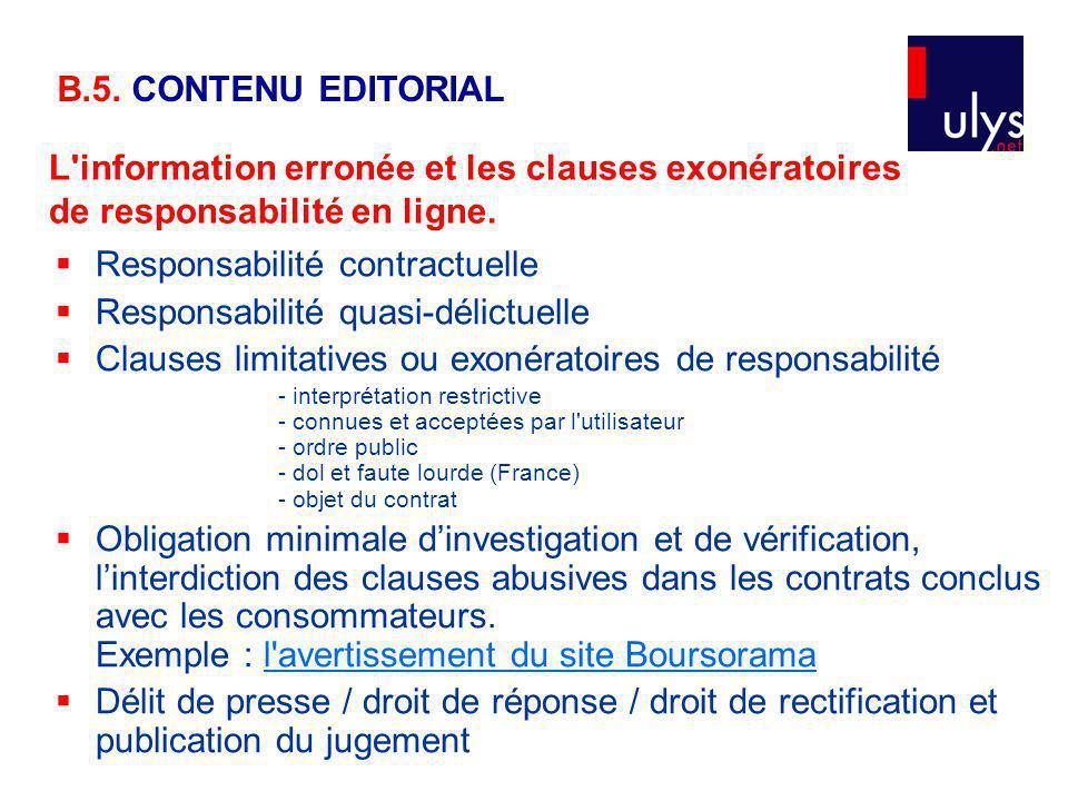 L information erronée et les clauses exonératoires