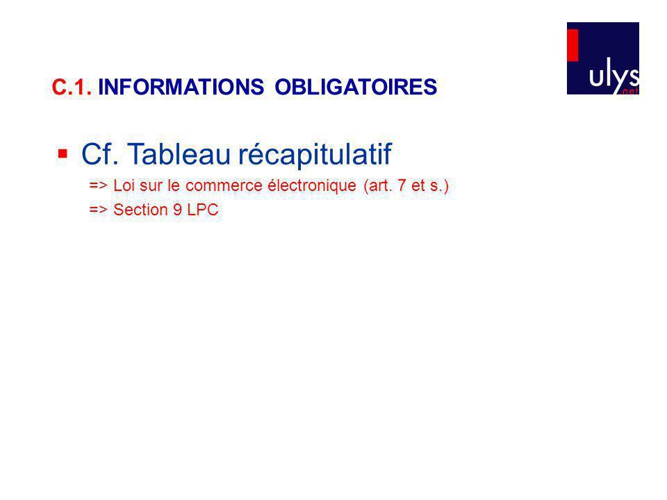 Cf. Tableau récapitulatif