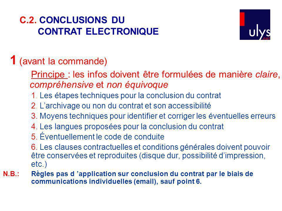 1 (avant la commande) C.2. CONCLUSIONS DU CONTRAT ELECTRONIQUE