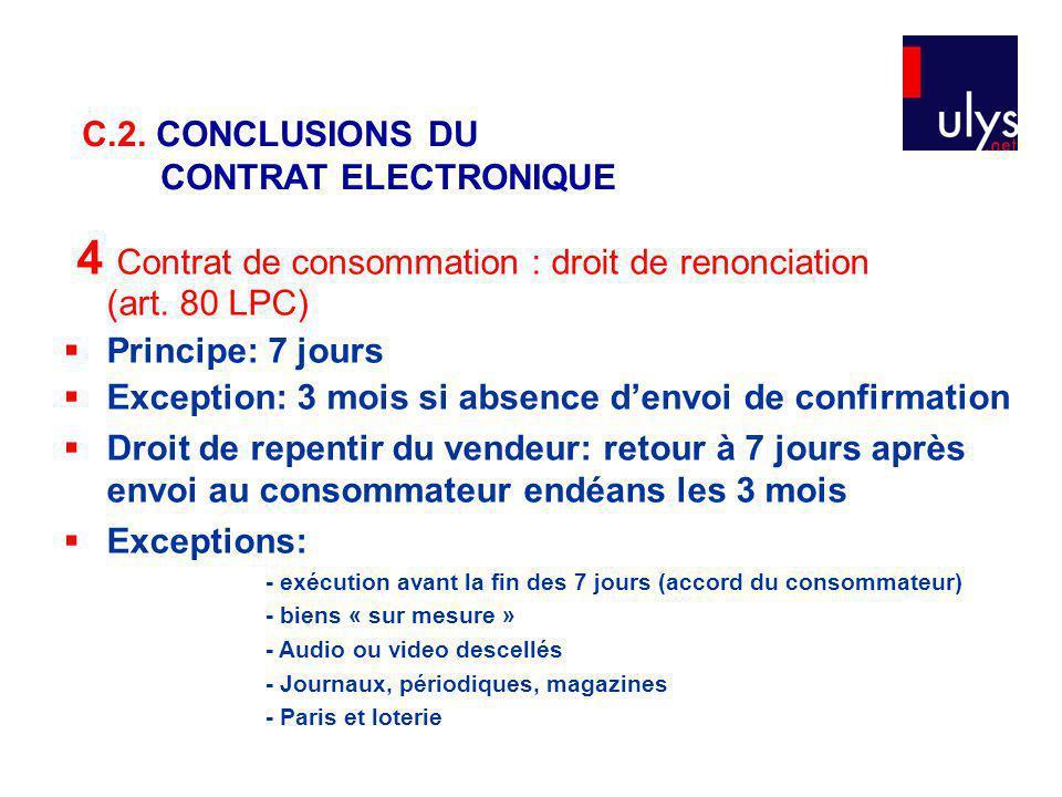 4 Contrat de consommation : droit de renonciation (art. 80 LPC)