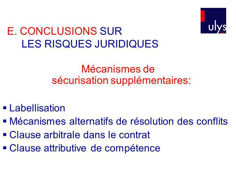 Mécanismes de sécurisation supplémentaires: