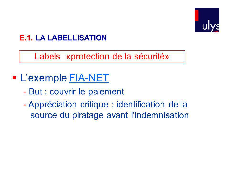 Labels «protection de la sécurité»