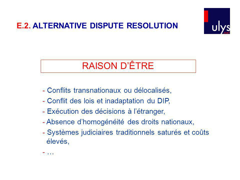 RAISON D'ÊTRE E.2. ALTERNATIVE DISPUTE RESOLUTION