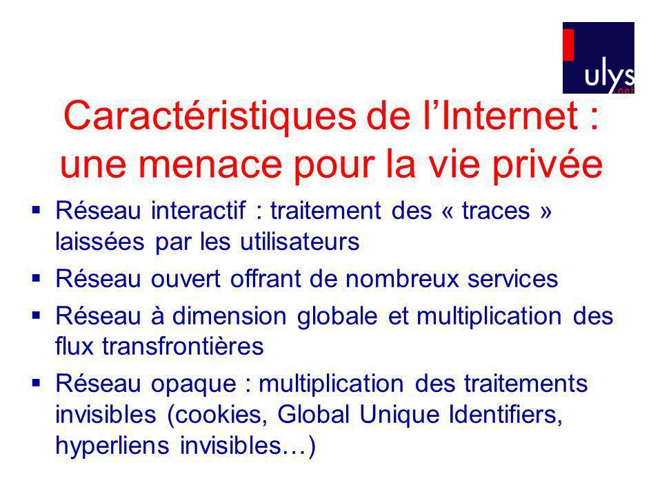 Caractéristiques de l'Internet : une menace pour la vie privée