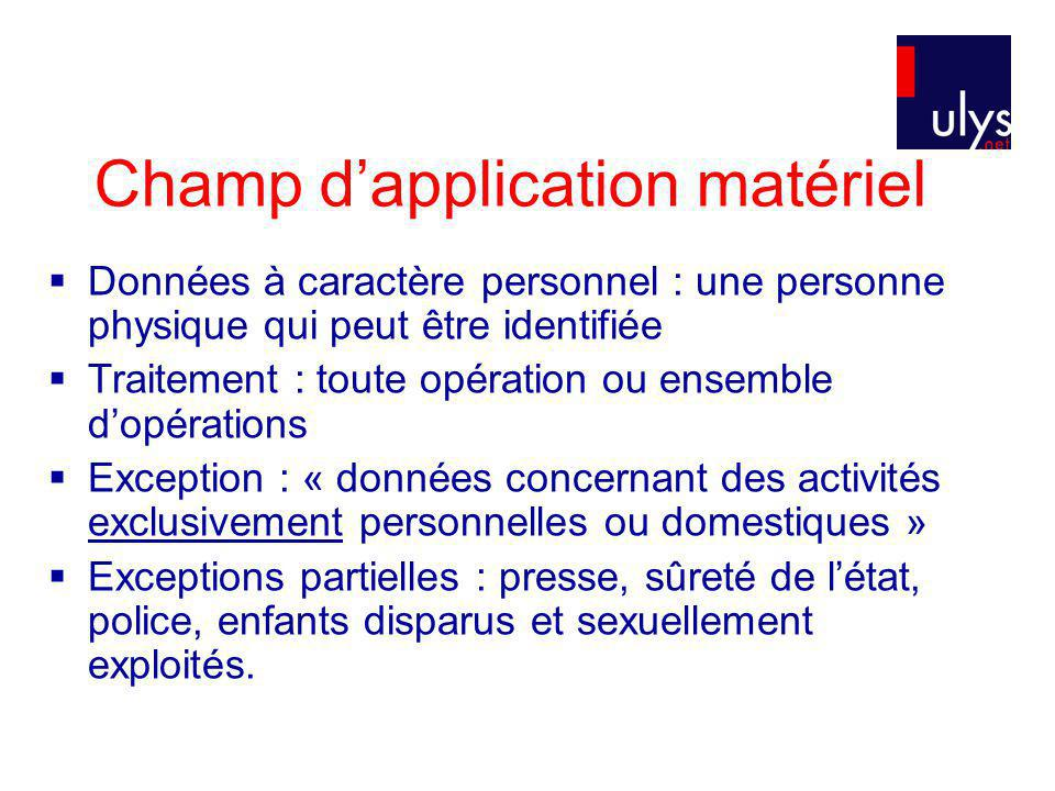 Champ d'application matériel