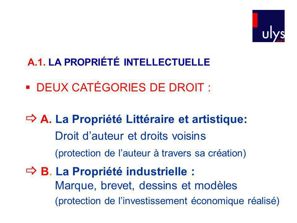  A. La Propriété Littéraire et artistique: