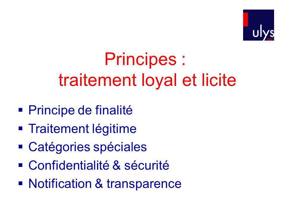 Principes : traitement loyal et licite