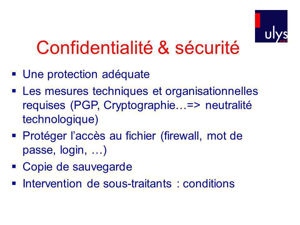 Confidentialité & sécurité