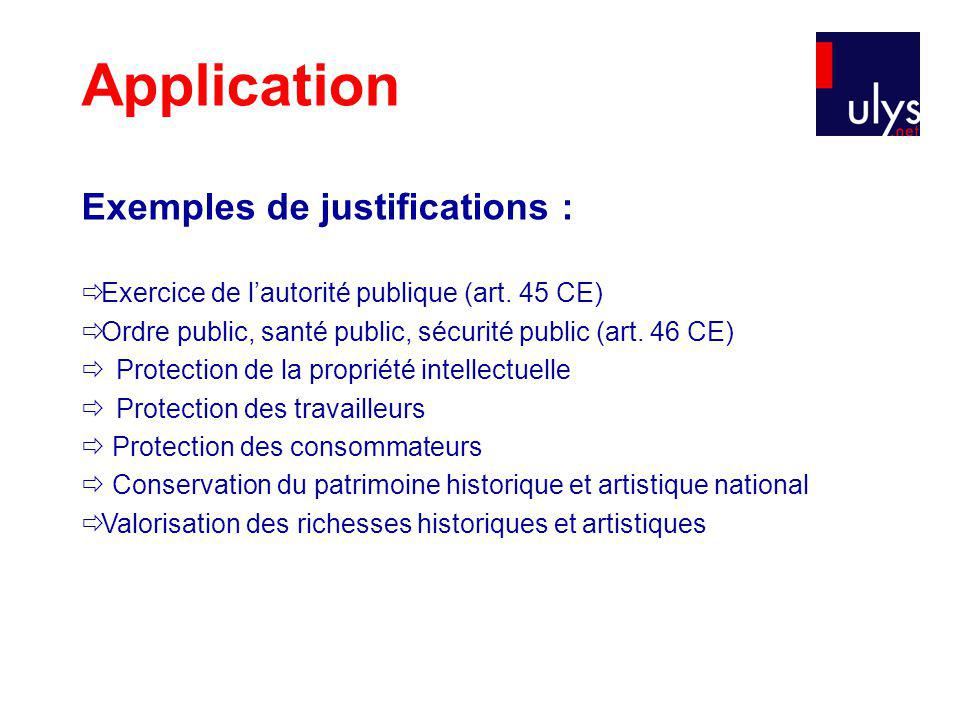 Application Exemples de justifications :