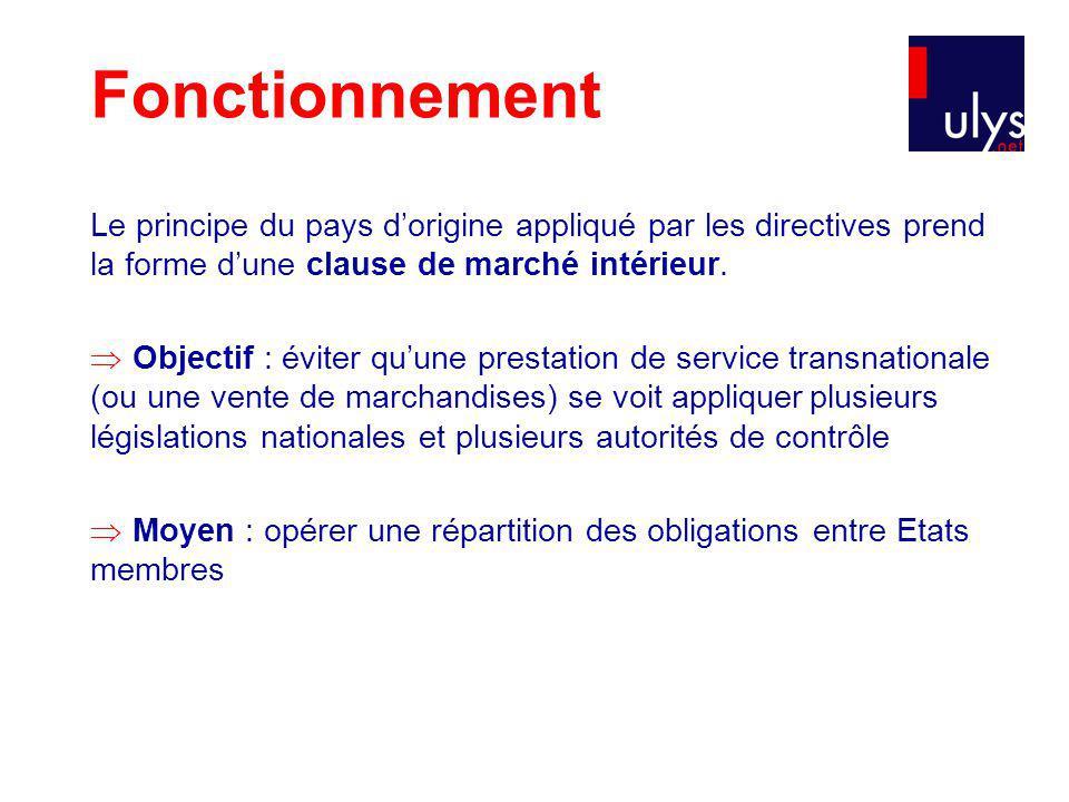 Fonctionnement Le principe du pays d'origine appliqué par les directives prend la forme d'une clause de marché intérieur.