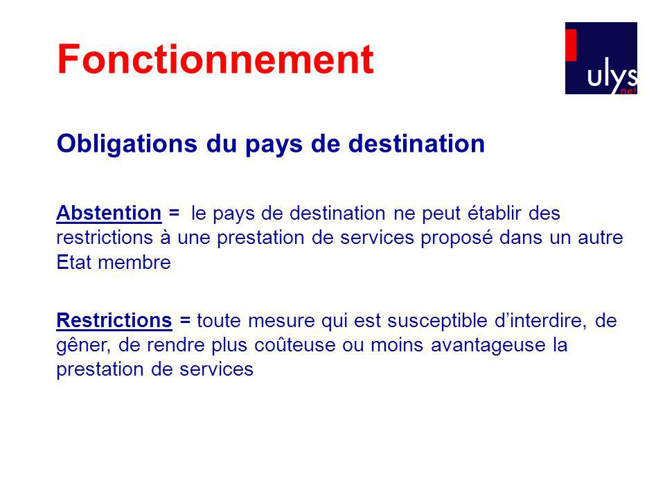 Fonctionnement Obligations du pays de destination