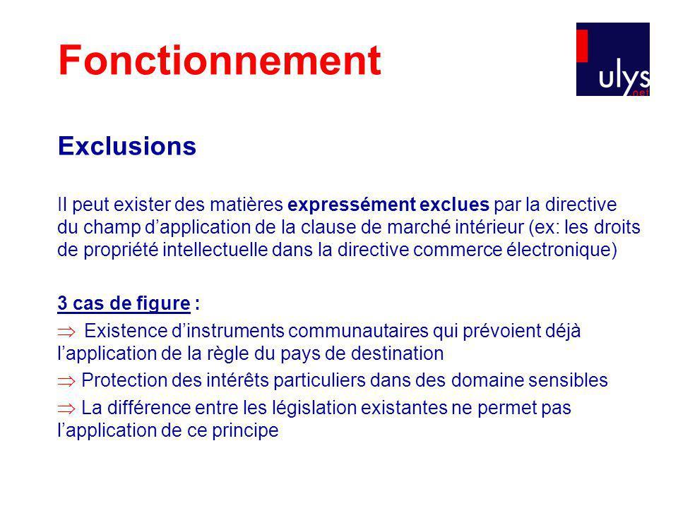Fonctionnement Exclusions