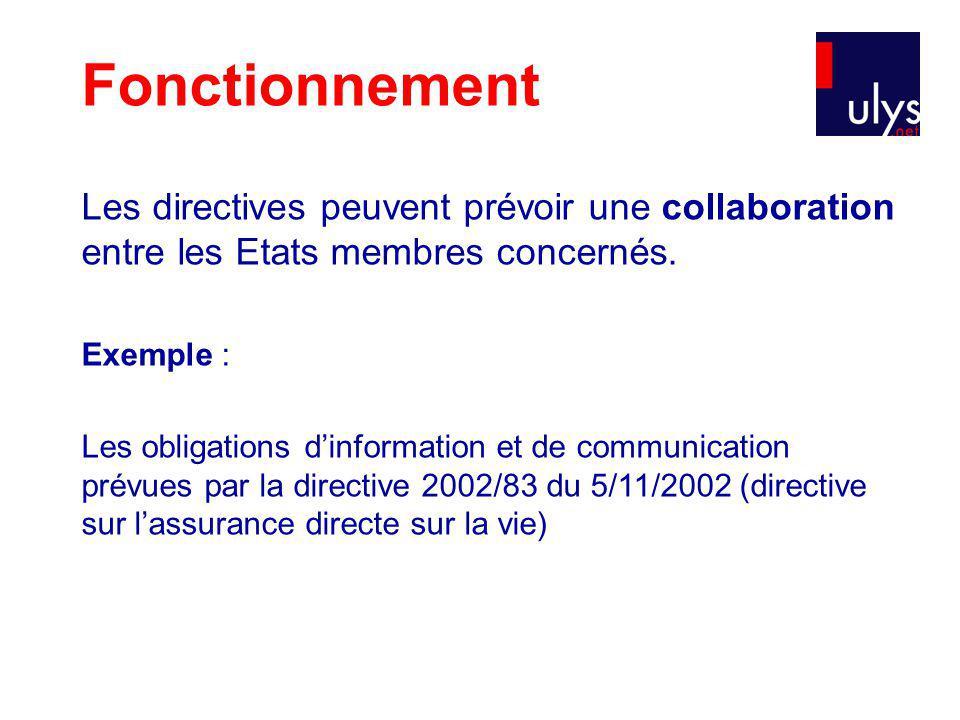 Fonctionnement Les directives peuvent prévoir une collaboration entre les Etats membres concernés. Exemple :