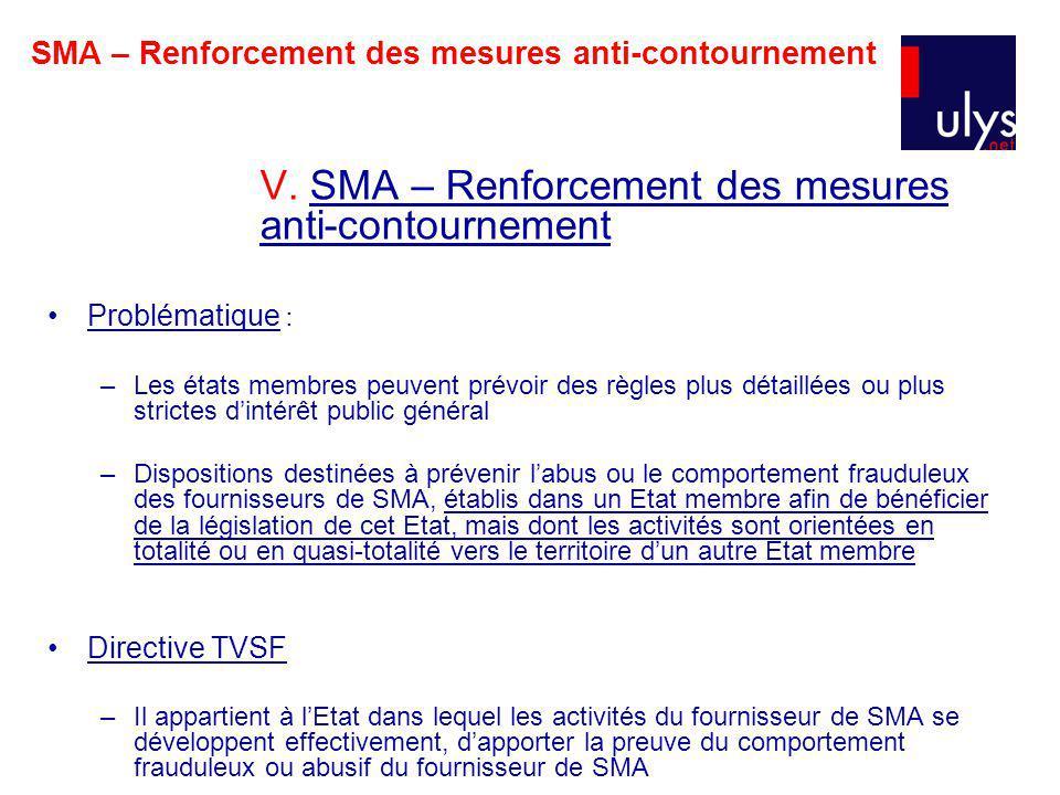SMA – Renforcement des mesures anti-contournement