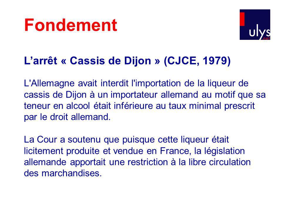 Fondement L'arrêt « Cassis de Dijon » (CJCE, 1979)