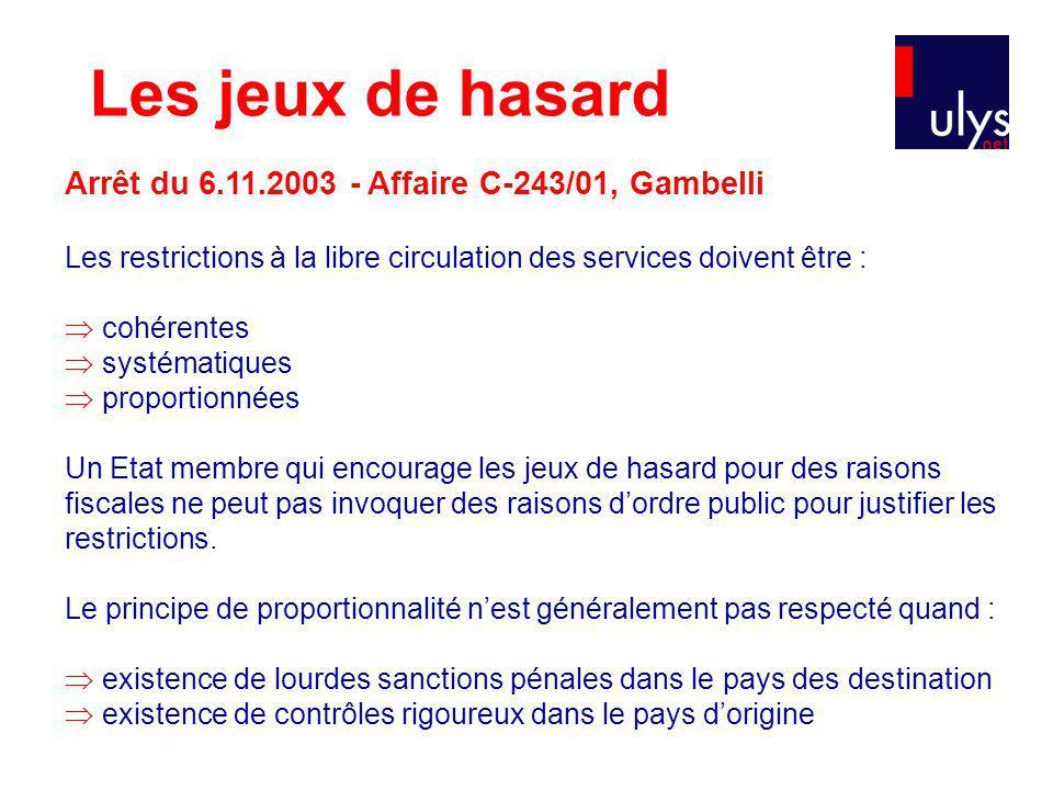 Les jeux de hasard Arrêt du 6.11.2003 - Affaire C-243/01, Gambelli