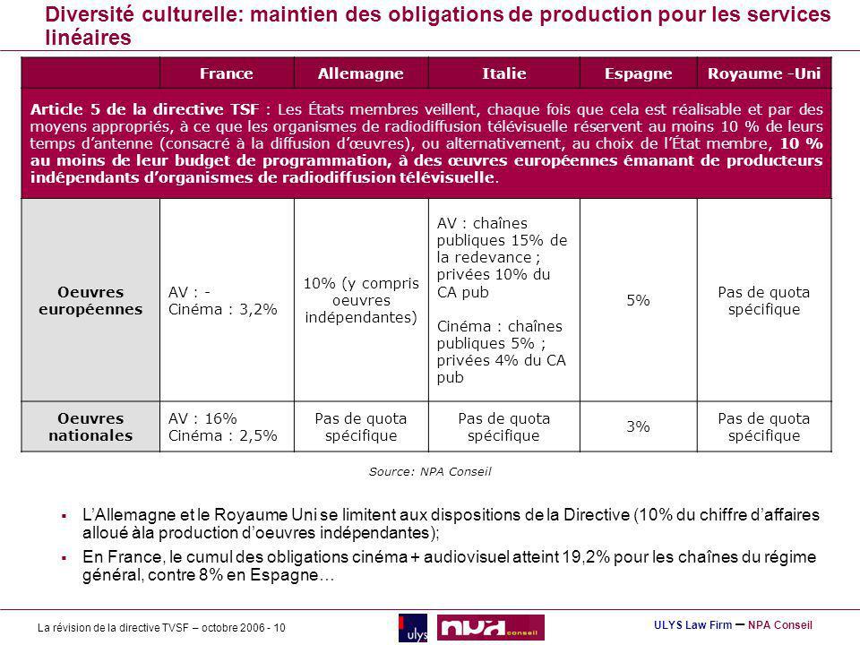 Diversité culturelle: maintien des obligations de production pour les services linéaires