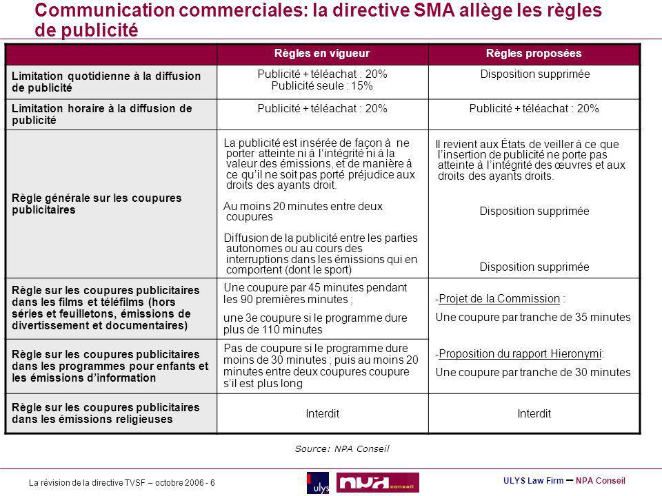 Communication commerciales: la directive SMA allège les règles de publicité