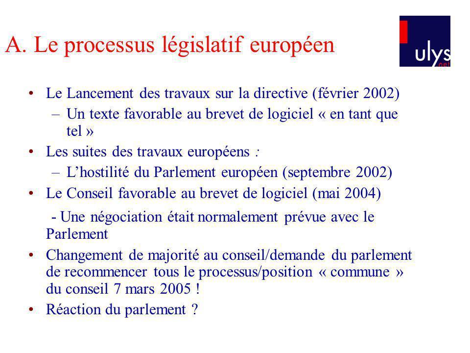 A. Le processus législatif européen