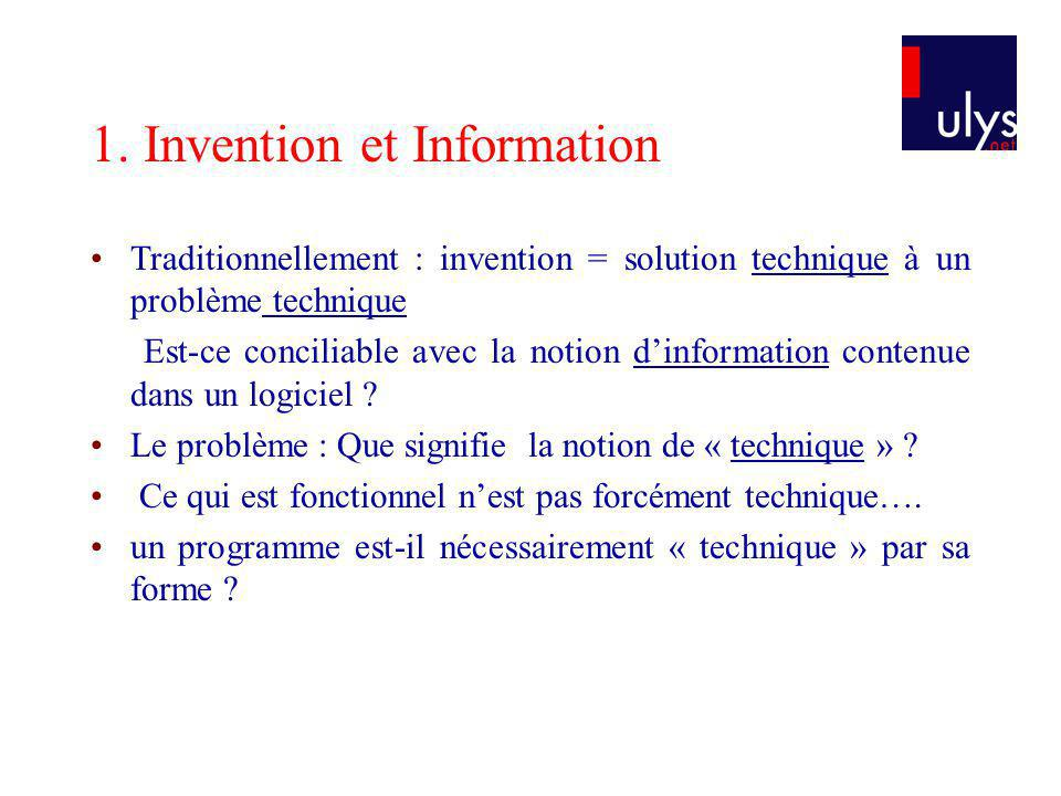 1. Invention et Information