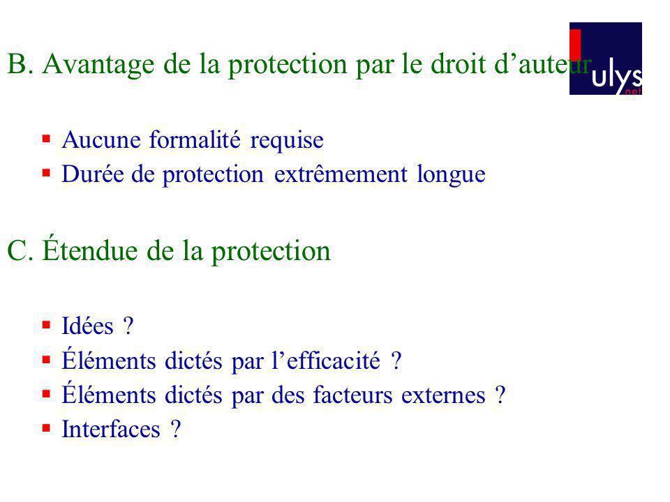 B. Avantage de la protection par le droit d'auteur