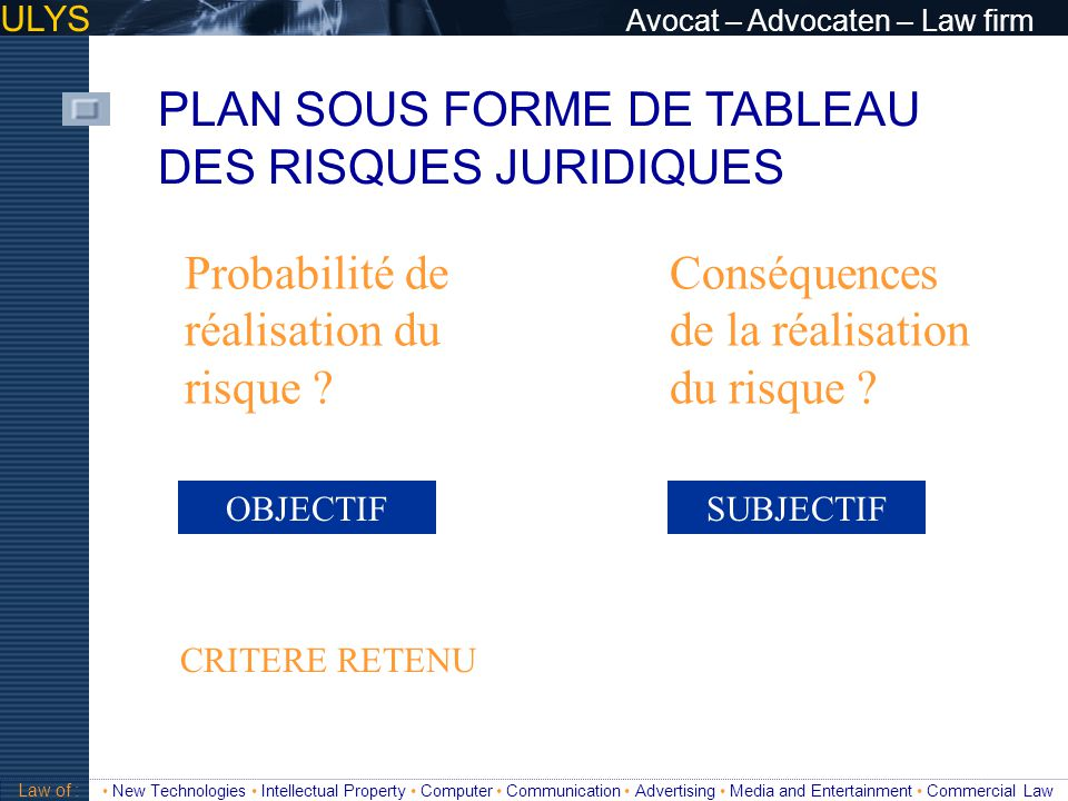 PLAN SOUS FORME DE TABLEAU DES RISQUES JURIDIQUES