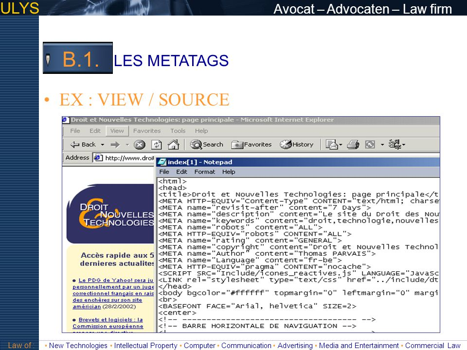 B.1. EX : VIEW / SOURCE ULYS Avocat – Advocaten – Law firm