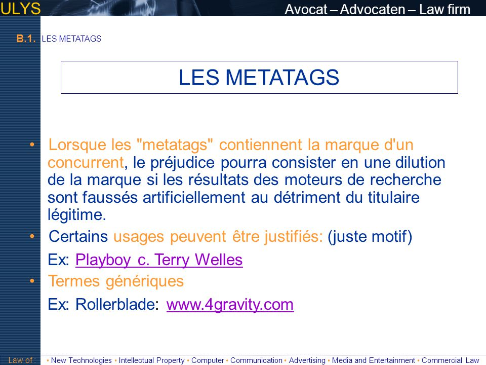 LES METATAGS ULYS Avocat – Advocaten – Law firm
