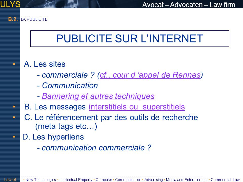 PUBLICITE SUR L'INTERNET