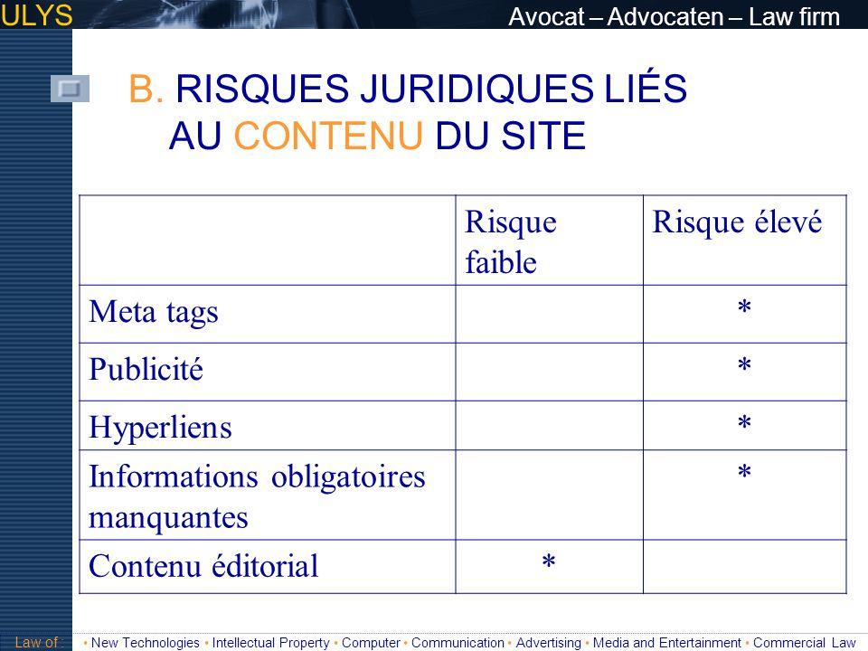 B. RISQUES JURIDIQUES LIÉS AU CONTENU DU SITE