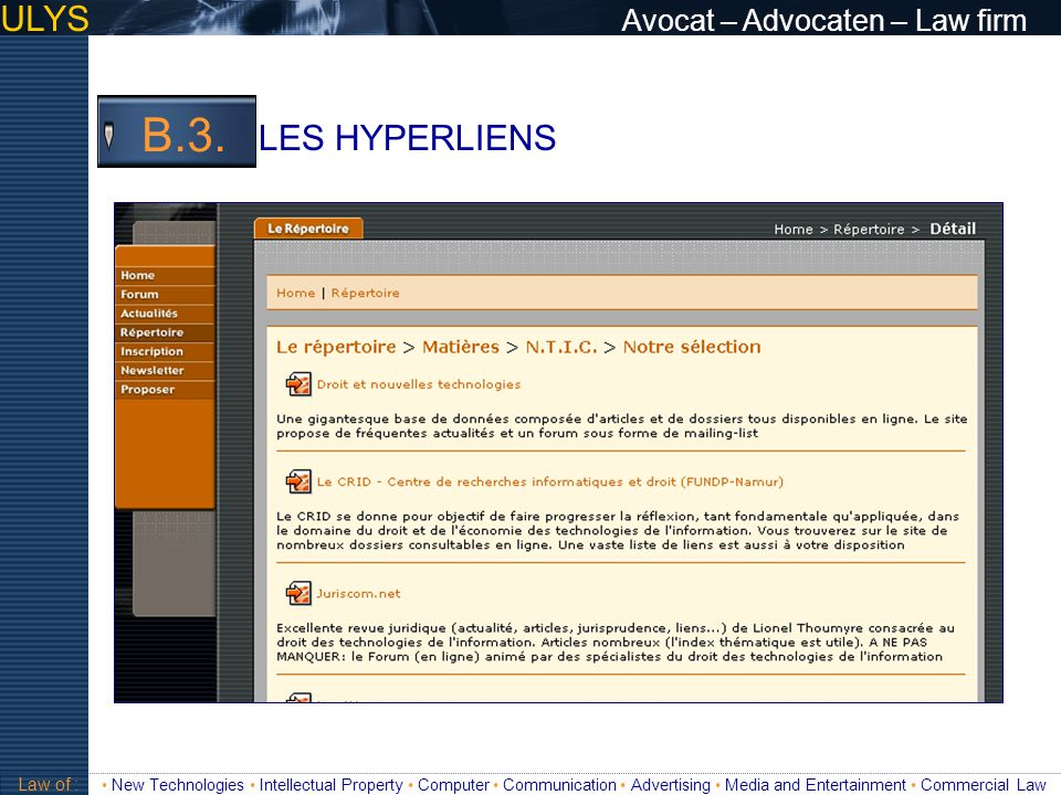 B.3. ULYS Avocat – Advocaten – Law firm LES HYPERLIENS 3 TITRE