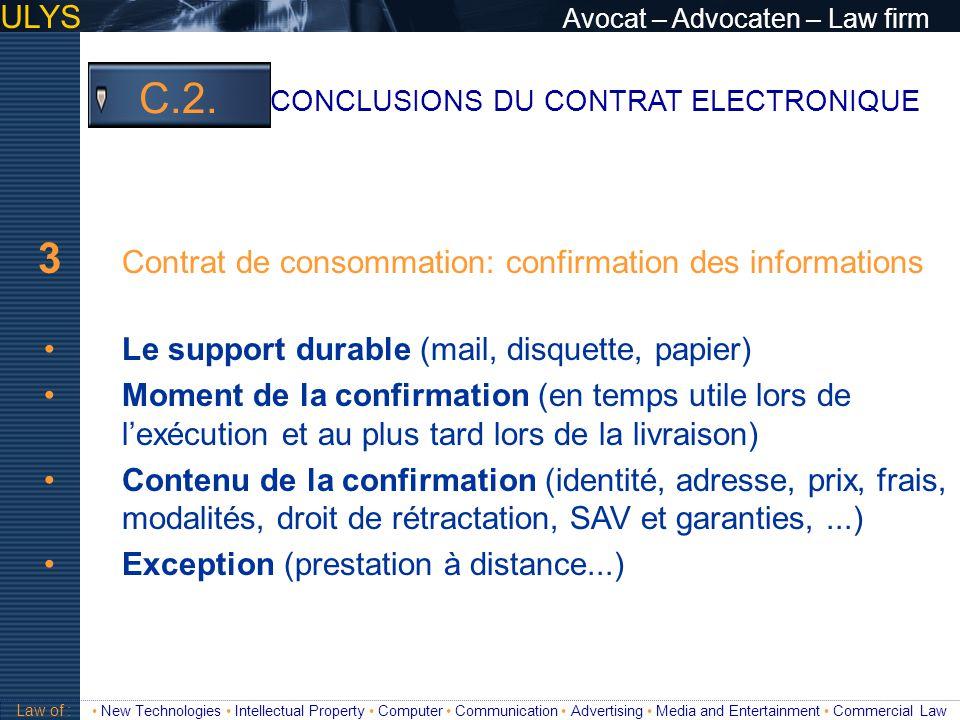 3 Contrat de consommation: confirmation des informations