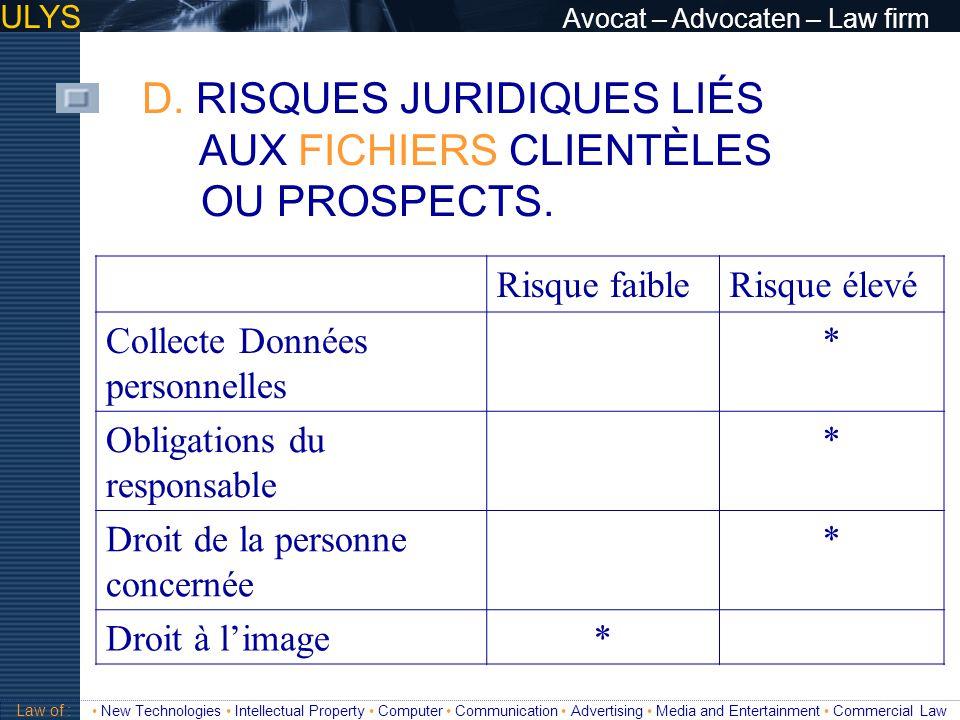 D. RISQUES JURIDIQUES LIÉS AUX FICHIERS CLIENTÈLES OU PROSPECTS.