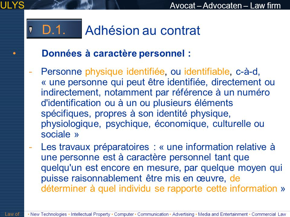 Adhésion au contrat D.1. ULYS Avocat – Advocaten – Law firm