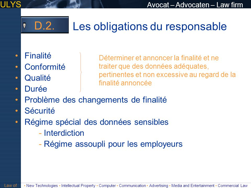 Les obligations du responsable D.2.