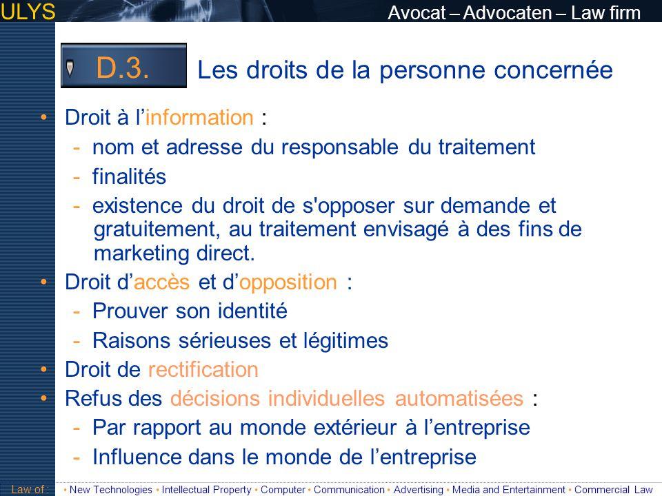 D.3. Les droits de la personne concernée
