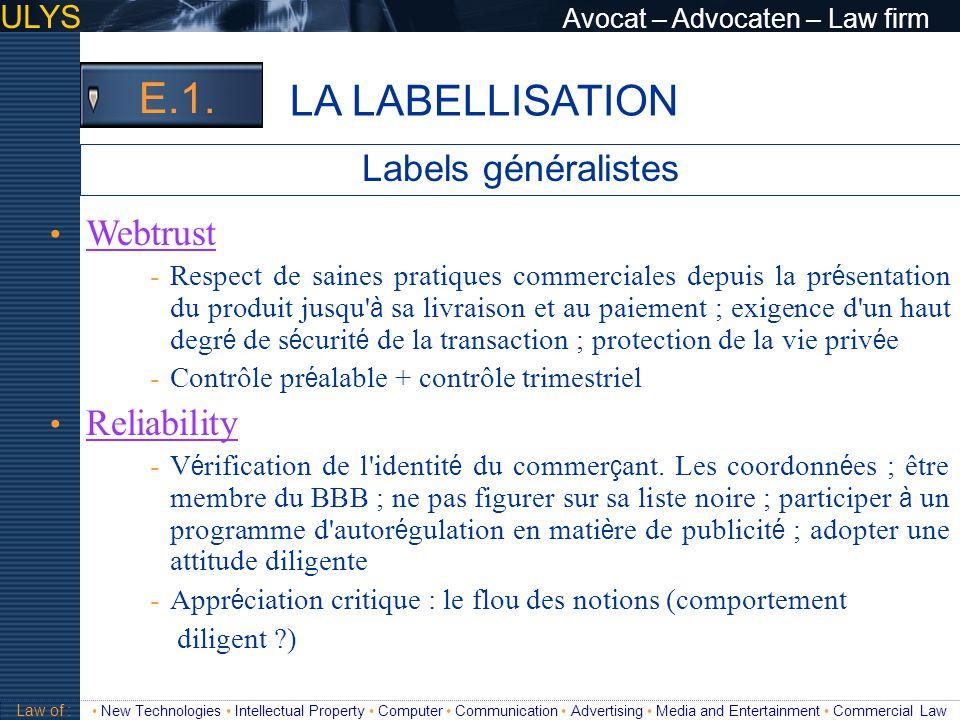 LA LABELLISATION E.1. Labels généralistes