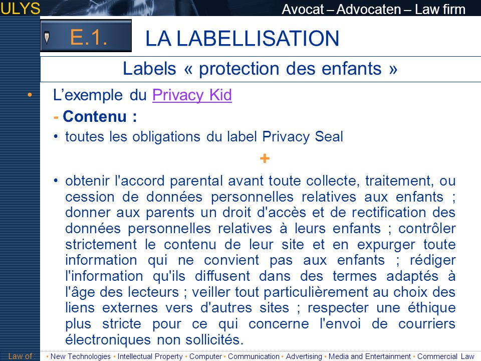 Labels « protection des enfants »