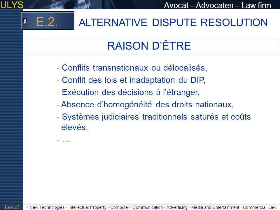 E.2. RAISON D'ÊTRE ALTERNATIVE DISPUTE RESOLUTION
