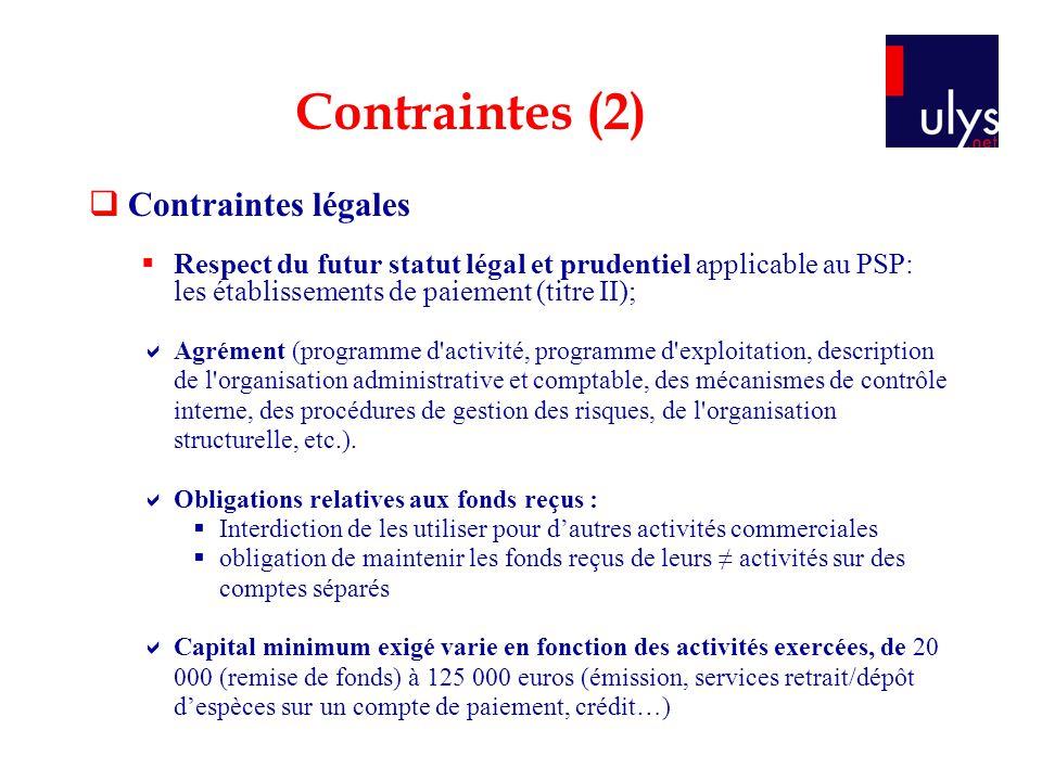 Contraintes (2) Contraintes légales