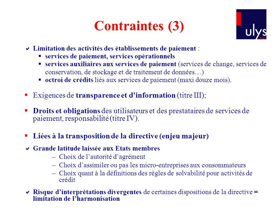 Contraintes (3) Limitation des activités des établissements de paiement : services de paiement, services opérationnels.