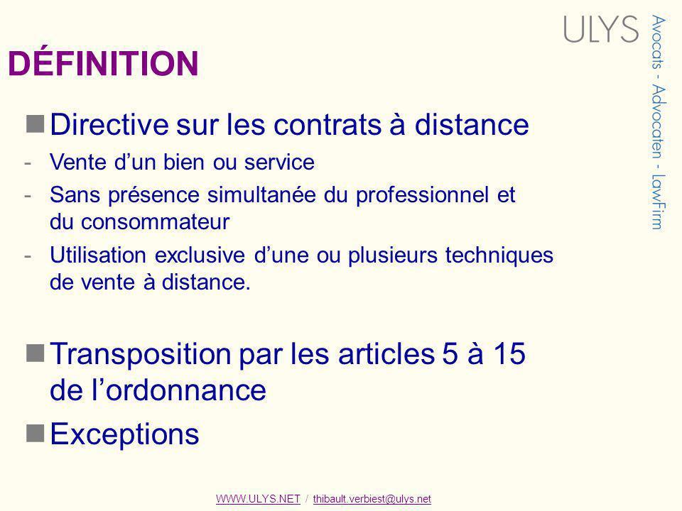 DÉFINITION Directive sur les contrats à distance