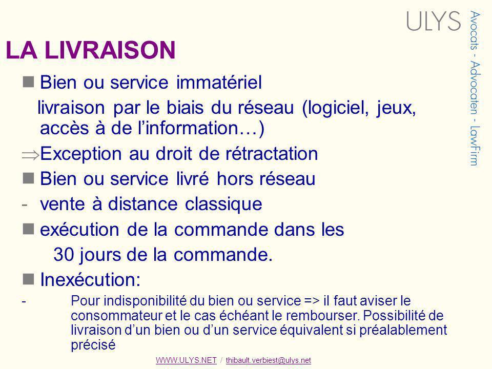 LA LIVRAISON Bien ou service immatériel